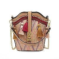 Brownrolly Fashion Backpack Tassel Shoulder Bag For Women Straw Messenger Bag Ethnic Style Rattan Shoulder Bag Lady Single Shoulder Bag Beach Bag Fashion Travel Girls Bag
