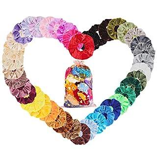 Haargummis Set 50 Stück Xpassion bunte Satin Haargummis Scrunchies Samt Elastische Haarbänder für Mädchen & Frauen, Velvet Pferdeschwanz Haaschmuck