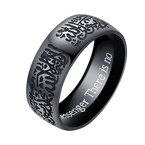 yibenwanligod Classic Edelstahl Muslim Islam Arabisch Muhammad Ring Männer Totem Ring-Black US 7