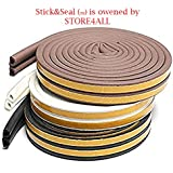 Stick&Seal® D Shaped (Brown) Self-Adhesive EPDM Doors and Windows Foam Seal Strip Soundproofing Collision Avoidance Rubber Weatherstrip 6 Meter (2 x 3 M = 6 Meter)