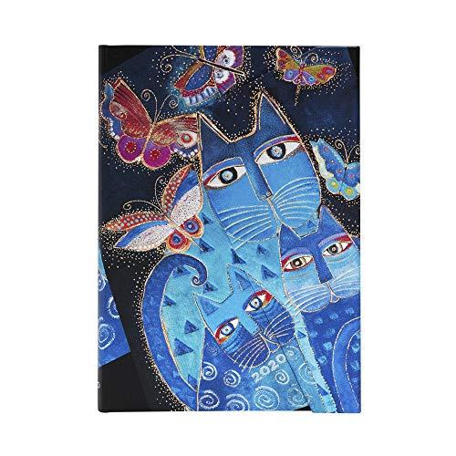 Paperblanks Agendas 12 Meses 2020 Gatos Azules y Mariposas | Apaisado | Midi (130 × 180 mm)
