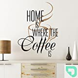 DESIGNSCAPE® Wandtattoo Home is where the coffee is | Wandtattoo Kaffee mit Kaffeetasse 78 x 90 cm (Breite x Höhe) Farbe 1: mint DW801300-M-F36