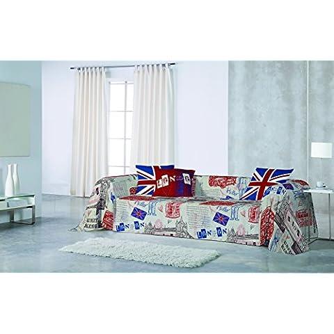 Foulard Sofá o Cubrecama SCRIPT (Sofá 3 plazas grande/cama 180) 280 x 260 cm Naturals