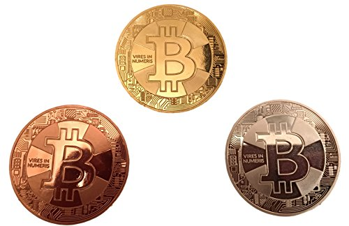 3er Set Bitcoin Münzen / Angreifbare Physische Physikalische Bitcoins – Dekomünzen Krypto-Muster BTC SET 40mm Gold, Silber & Kupfer farbig im Set – Mit SCHUTZKAPSEL - 2