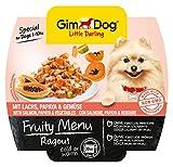 GimDog Futter – Little Darling Fruity Menu Ragout mit Lachs, Papaya & Gemüse – Für Hunde bis 10 kg – Natürliches Hundefutter ohne künstliche Aromen & Farbstoffe – Hundenassfutter 800g (8 x 100g)