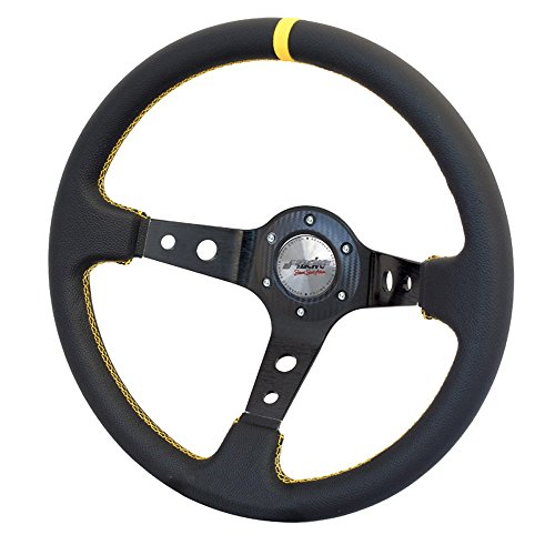Simoni Racing SPEC Sport Steering Wheel Special, Schwarz, Yellow Seams
