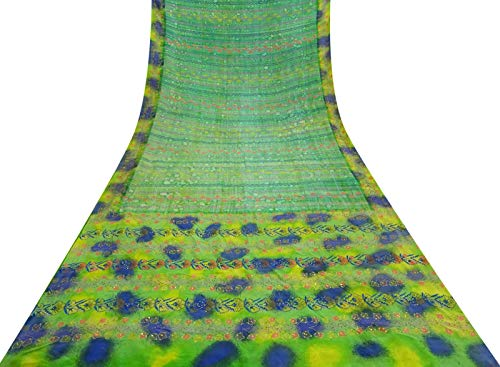 Crepe Seide Vintage-Saree mit Blumenmuster Grün Craft Gebrauchte Dekostoff Sari 5 Yd -