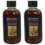 Millefiori Milano–Carga Perfumes Para Habitaciones 250ml serie Natural aroma Sándalo Bergamota 2paquetes–Recambio para difusor de aroma de varillas.