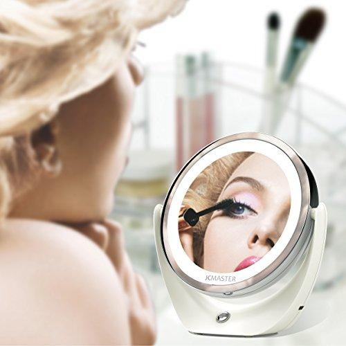 JCMASTER Specchio a LED con Ingrandimento 5x Illuminato, ricaricabile con USB