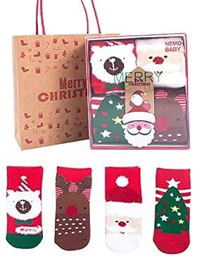 EREACH 4 Paar Weihnachten Wollesocken für Kinder 0-10 Jahren Unisex, Weihnachtssocken Winter Baby Baumwolle Socken...