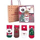 EREACH 4 Paar Weihnachten Wollesocken für Kinder 0-10 Jahren Unisex, Weihnachtssocken Winter Baby Baumwolle Socken Wintersocken Christmas