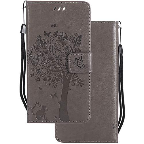 LEMORRY für Microsoft Lumia 640 LTE Hülle Tasche Geprägter Ledertasche Beutel Schutz Magnetisch Schließung SchutzHülle Weich Silikon Cover Schale für Lumia 640 LTE, Glücklicher Baum Grau