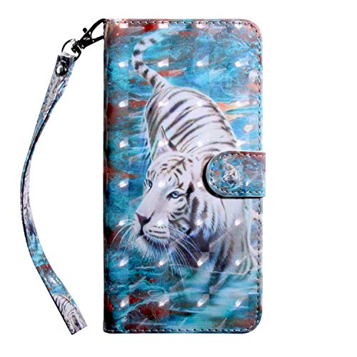 Galaxy S9 Hülle, Bear Village® PU Leder Wallet Case Anti-Scratch Brieftasche Schutzhülle mit Kostenlos Schutzfilm aus Gehärtetem Glas für Samsung Galaxy S9 (#9 Tiger)