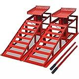 Festnight Auffahrrampen 2 Stk. Stahl Rampe Auffahrbock Belastbar bis zu 2 Tonnen - Rot