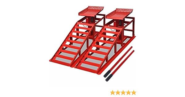 Festnight Auffahrrampen 2 Stk Stahl Rampe Auffahrbock Belastbar Bis Zu 2 Tonnen Rot Beleuchtung