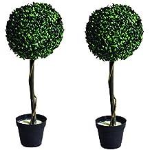 Árbol topiario en maceta con luces LED (blanco cálido, 2x 71cm, funciona con energía solar)