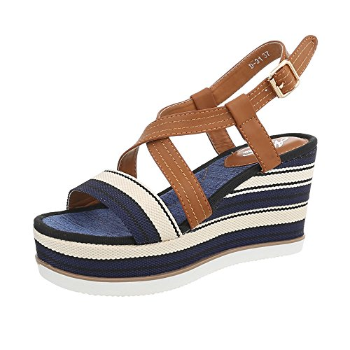 Ital-Design Keilsandaletten Damen-Schuhe Keilsandaletten Keilabsatz/Wedge Keilabsatz Schnalle Sandalen & Sandaletten Blau Multi, Gr 40, D-31- (Sandalen Multi-schnalle)