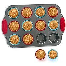 Molde de Silicona para hornear 12 Muffins y Paquete de 12 Cápsulas para Muffin de Boxiki