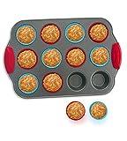 Stampo in silicone per 12 Muffin con forme in silicone per muffin (set di 12) di Boxiki Kitchen | Stampo antiaderente professionale | Acciaio resistente e forme in silicone per muffin