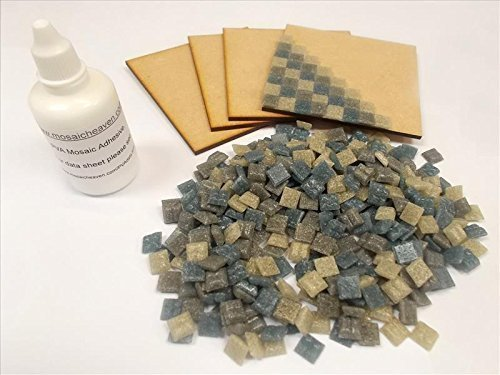 Mosaic Coaster Tile Kit. Ready to Make. With Greys Mosaic tiles. Every thing you need to make this Mosaic Kit, Top quality vitreous tiles and solid 4 X MDF Coasters + Adhesive & Instructions.