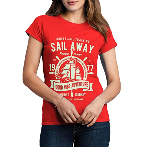 B444WCNTR Damen T-Shirt Sail Away Navy Anchor Diver Deep Sea Nautical Ship Scuba Diving Exploration Vintage(X-Large,Red)