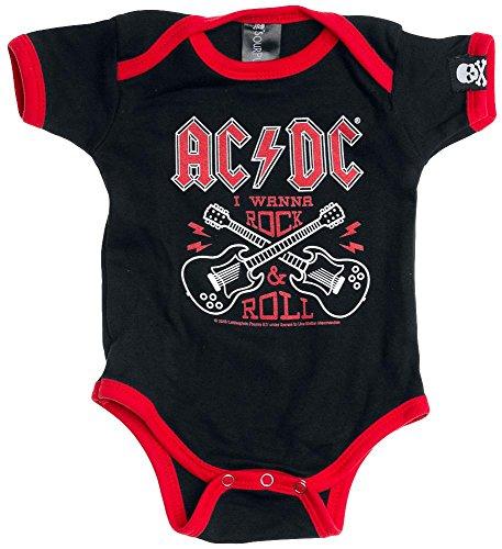 AC/DC Rock & Roll Body bimbo/a nero/rosso 62/68