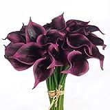 JUSTOYOU Latex Real Touch Künstliche Calla Lilien Blumen für Hochzeit Sträuße Home Hotel Gartendekoration (10PCS, Lila Rot)