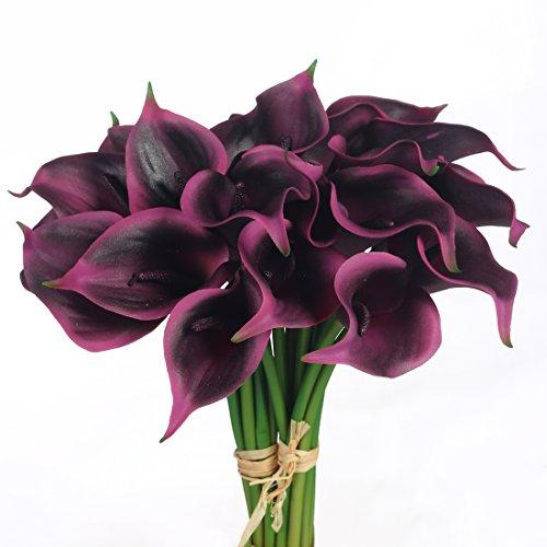 JUSTOYOU Latex Real Touch Künstliche Calla Lilien Blumen für Hochzeit Sträuße Home Hotel Gartendekoration (10PCS, Lila - Bouquet Flower Lila Silk