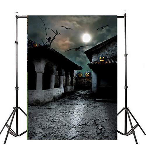 VEMOW Heißer Halloween Backdrops Kürbis Vinyl 3x5FT Laterne Hintergrund Blackout Fotografie Studio 90x150cm(Mehrfarbig, 90x150cm) (Halloween 3 Von Erklärung)