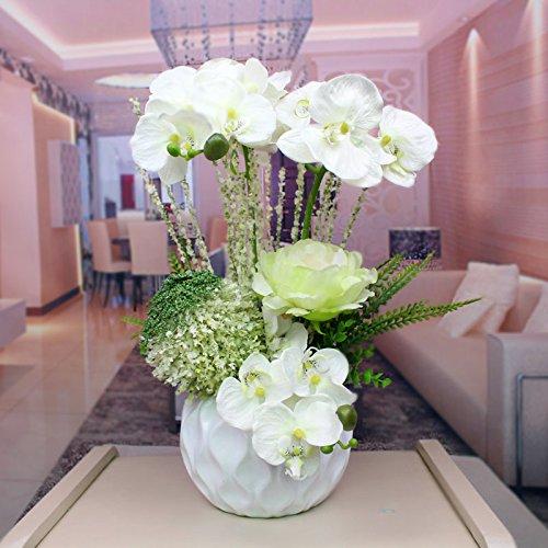 Flores artificiales orquídeas jarrones de cerámica peonía blanca Accesorios Nupcial flores decorativas Artesanía Home decoración de jardines by XHOPOS HOME