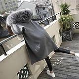 Xuanku Große Pelzkragen In Der Langen Wollmantel Kleid Dicken Wollenen Mantel, L, Grau