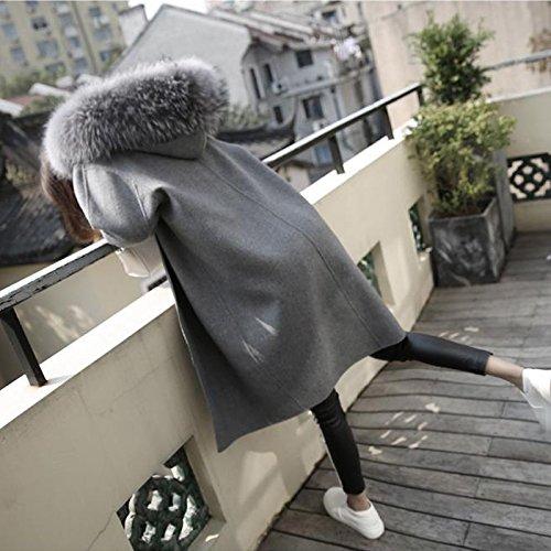 Xuanku Big Fur Collar In The Long Wool Coat Dress Thick Woolen Coat