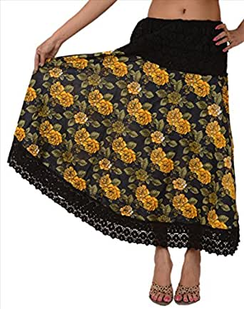 Skirts & Scarves Women Long Skirt Cotton Maxi Embroidered Floral Lace Work