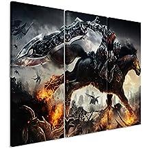 Quadro su tela 3pezzi Darksiders _ War _ Rides _ 3x 90x 40cm (totale 120x 90cm) _ Versione Bella Stampa Artistica Su vera tela come un murale su telaio