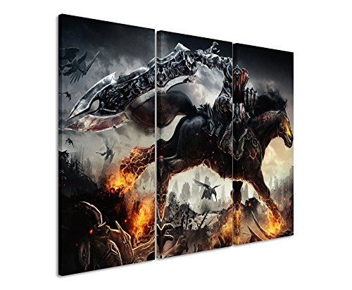 Leinwandbild 3 teilig Darksiders_War_Rides_3x90x40cm (Gesamt 120x90cm) _Ausführung schöner Kunstdruck auf echter Leinwand als Wandbild auf Keilrahmen