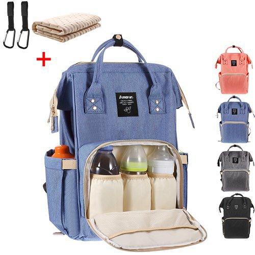 Baby Wickelrucksack mit 2 Pcs Kinderwagen-haken und 1 Pcs Wickelunterlage, Multifunktionale Wasserdichte Wickeltasche mit große Kapazität und warme Tasche, Babytasche für Reise (Violett) Pc-violett