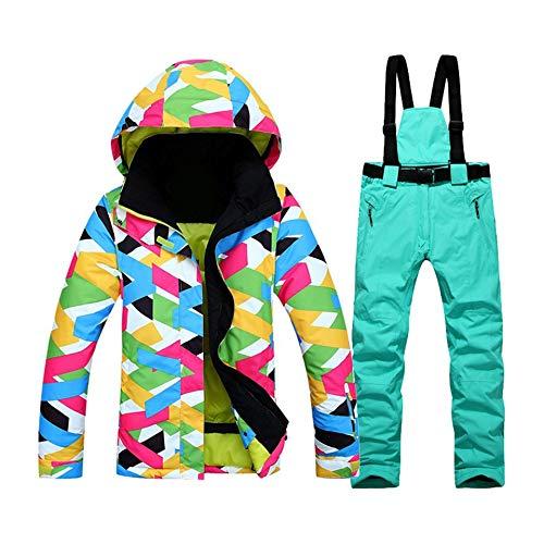 Feketeuki 2017 Traje de esquí al Aire Libre de Invierno Ropa súper cálida Abrigo de esquí de Moda para Mujer Chaqueta Impermeable Pantalones a Prueba de Viento Traje - Lago Azul L