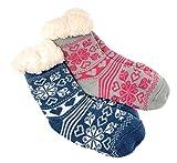 2 Paar Mädchen Hütten Socken Kinder Home Socks Teddyfutter Kuschelsocken Lammfellimitat ABS-Sohle (5560, 24-27)