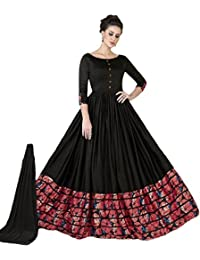 Riyan Enterprise Women's Latest Designer Party Wear Black Color Salwar Suit, Indo Western Dress On Georgette Silk...