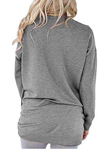 Jc.Kube Damen Loose Casual Langarmshirt Oberteile Sweatshirt Grau