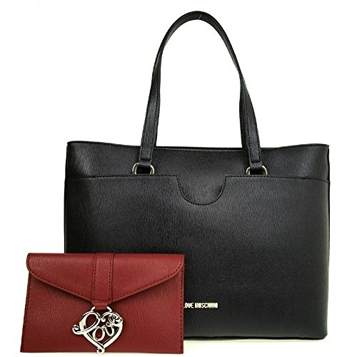 LOVE MOSCHINO BORSA NEW SAFF PVC MIX NERO/ROSSO art JC4231PP02KD100A