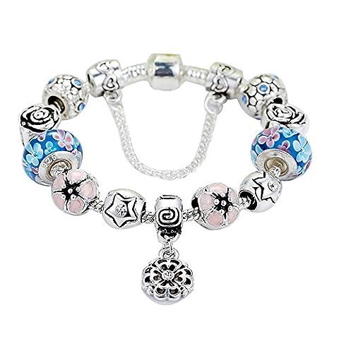 iEFiEL Bracelet à breloques Charms Femmes / Filles, Bijoux Mode, Pandora Fleurs Reine Perles Verre argent 18 CM