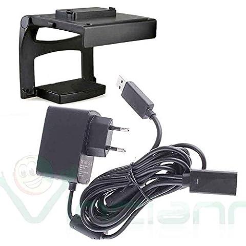 Alimentatore caricabatterie+Supporto stand TV per Microsoft Kinect Xbox 360
