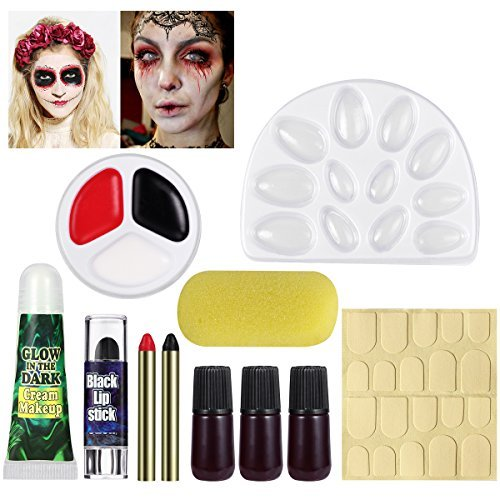 UNOMOR Halloween Schminkset für Grusel Halloween Makeup mit Kunstblut und Nägeln die im Dunklen Glühen (Einfache Zombie Make Up)