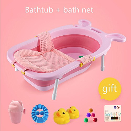 GAOQ Baby Badewanne Faltbare Shampoo Stuhl Baby Badewanne Falten Faltbare Duschwanne Kann Sitzen Und Lie,F