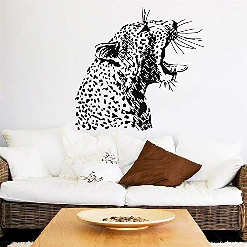 guijiumai Angry Cheetah Head Pattern Art Fototapeten Home Wohnzimmer Special Jungle Aniamls Series Dekorative Vinyl Wandaufkleber rot 75x80cm (Cheetah Keyboard)