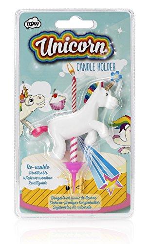 NPW Unicorn Einhorn Kerzenhalter Kinder Torte Geburtstag Kuchen Pony Pferd