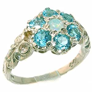 Victorian Solid Sterling Silver Natural Fiery Opal & Blue Topaz Daisy Ring - Size K - Finger Sizes K to Z Available