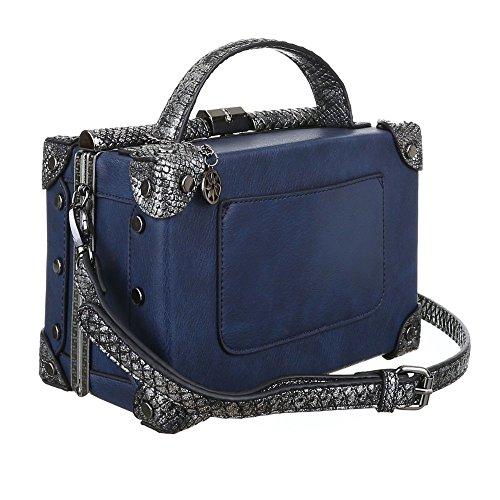 Damen Tasche, Schultertasche, Kleine Koffertasche, Kunstleder, TA-3824-8A Blau