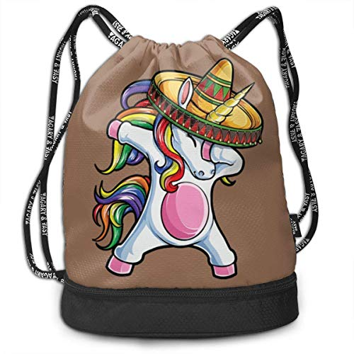 DSFDSFSDFRTRGF Dabbing Cowboy Hat Unicorn Drawstring Backpack Compartment Sport Bag